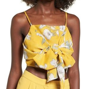 Chriselle x J.O.A. Yellow Tie Front Crop Top